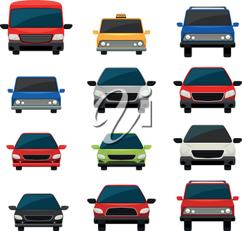 Set of tinted vehicles on a white background