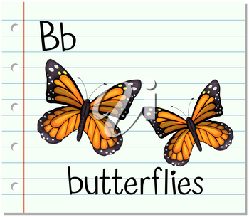 Flashcard letter B is for butterflies illustration