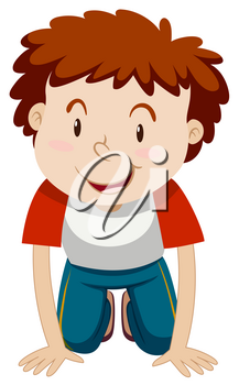Little boy with curly hair kneeling down illustration