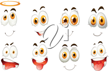 Different kind of facial expressions illustration
