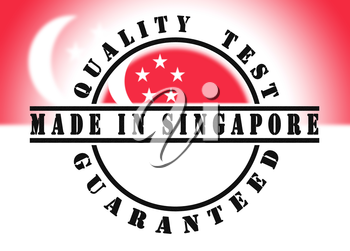 Quality test guaranteed stamp with a national flag inside, Singapore