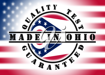 Quality test guaranteed stamp with a state flag inside, Ohio