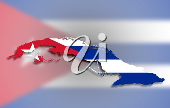 Map of Cuba filled with flag, isolated