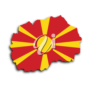 Country shape outlined and filled with the flag, Macedonia