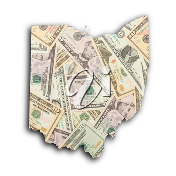 Map of Ohio, filled with US dollars
