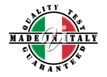 Quality test guaranteed stamp with a national flag inside, Italy