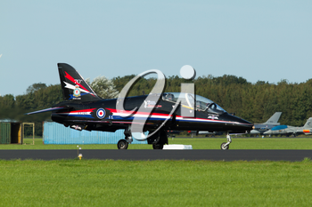 LEEUWARDEN,FRIESLAND,HOLLAND-SEPTEMBER 17: A RAF Hawker Hawk from the Hawk Solo Display at the at the Airshow on September 17, 2011 at Leeuwarden Airfield,Friesland,Holland