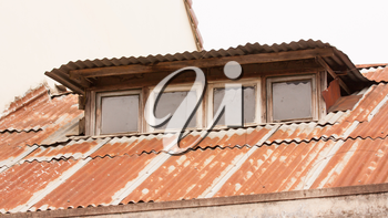 Old galvanized roof covered in rust, Vietnam