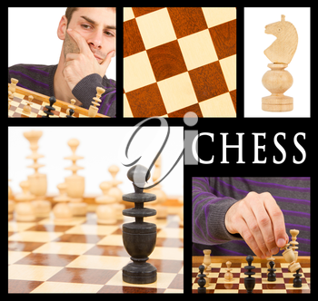 Compilation of game of chess, series of five, isolated on black