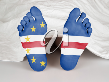 Feet with flag, sleeping or death concept, flag of Cape Verde