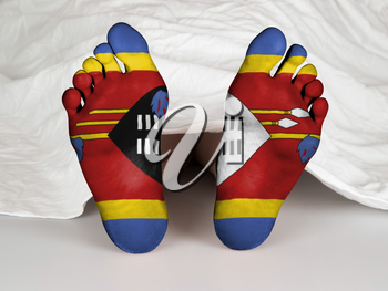 Feet with flag, sleeping or death concept, flag of Swaziland
