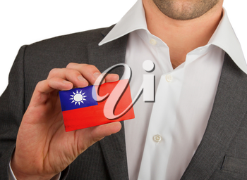 Businessman is holding a business card, flag of Republic of China