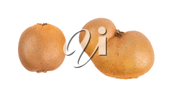 Fresh kiwis with funny deformations, isolated on white