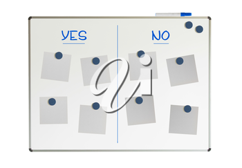 Yes and no on a whiteboard, isolated on white