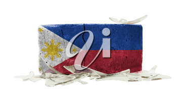 Brick with broken glass, violence concept, flag of the Philippines