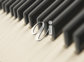Background of a piano keyboard, close up, selective focus