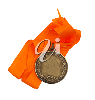 Old medal isolated on a white background