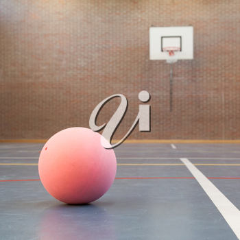 Pink ball on blue court at break time, school gym