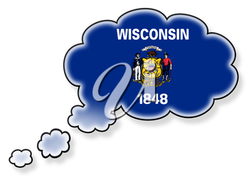 Flag in the cloud, isolated on white background, flag of Wisconsin