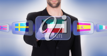 Hand pushing on a touch screen interface, choosing language or country, Kuwait