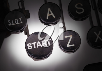 Typewriter with special buttons, start