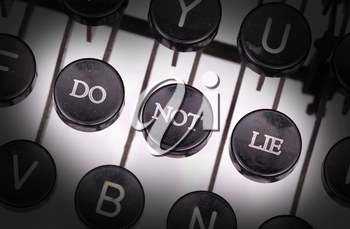 Typewriter with special buttons, do not lie