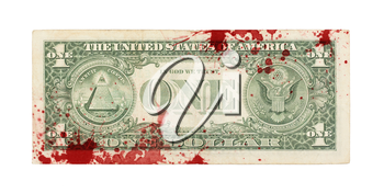 US one Dollar bill, close up photo, blood