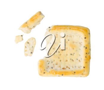 Broken square cracker isolated on a white background