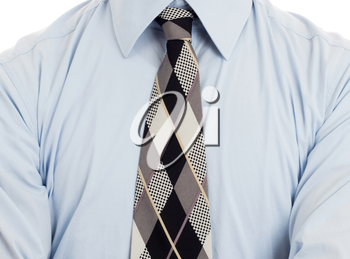 Man wearing wrinkled blue shirt with necktie, isolated on white