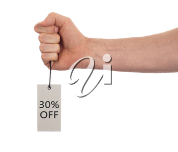 Tag tied with string, price tag - 30 percent off (isolated on white)