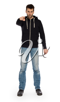 Crime concept. Criminal in hood with crowbar in hand, isolated on white