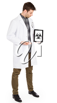 Doctor holding tablet, isolated on white - Warning! Biohazard!