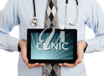 Doctor, isolated on white backgroun,  holding digital tablet - Clinic