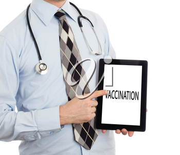 Doctor, isolated on white backgroun,  holding digital tablet - Vaccination