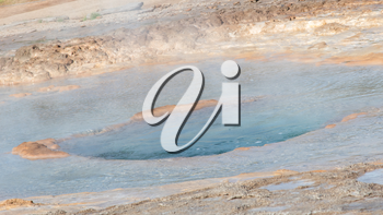 The famous Strokkur Geyser about to erupt - Iceland - Close-up