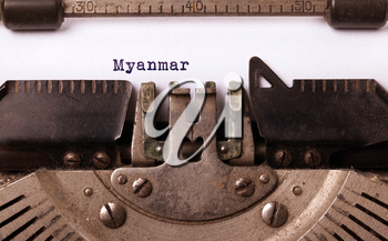 Inscription made by vinrage typewriter, country, Myanmar