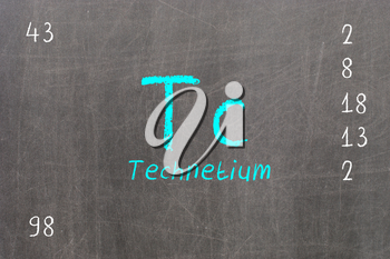 Isolated blackboard with periodic table, Technetium, chemistry