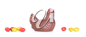 Chocolate easter chicken - Isolated on white background