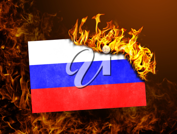 Flag burning - concept of war or crisis - Russia