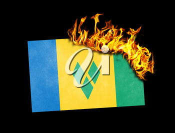 Flag burning - concept of war or crisis - Saint vincent and the grenadines