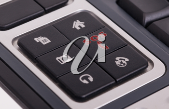 Buttons on a keyboard, selective focus on the middle right button - SOS