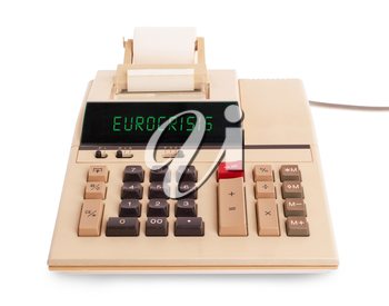 Old calculator for doing office related work, selective focus - eurocrisis
