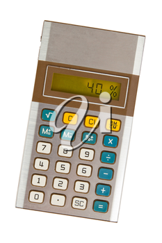 Old calculator with digital display showing a percentage - 40 percent