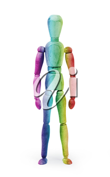 Wood figure mannequin with bodypaint on white background - Multi colored