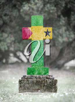 Old weathered gravestone in the cemetery - Sao Tome