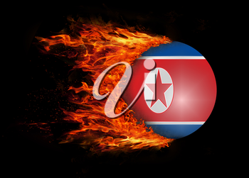 Concept of speed - Flag with a trail of fire - North Korea