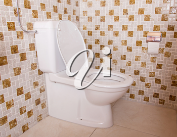 Old clean toilet with old tiles (80s)
