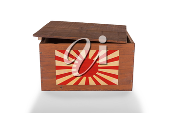 Wooden crate isolated on a white background, product of Japan