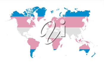 Map of world isolated on white, Trans Pride