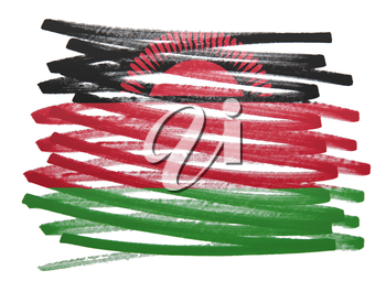 Flag illustration made with pen - Malawi